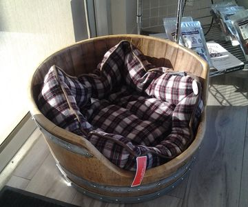 Custom made Dog bed, hand crafted from Okanagan  wine barrels . Ideal for small to mid sized breeds.