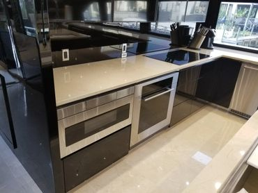 yacht boat kitchen high gloss sapele
