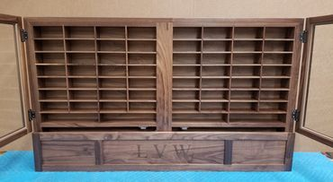 walnut solid wood knife display cabinet