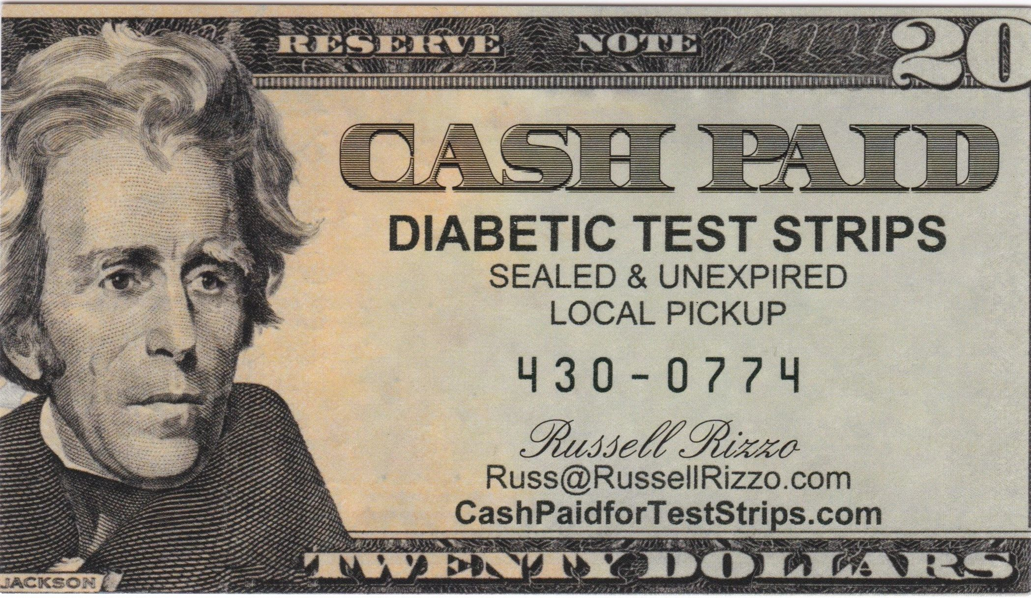 Cash paid for diabetic test strips