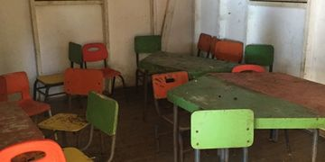 Old classroom and desks