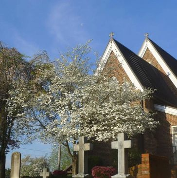 historic St. Paul's chapel, grave makers, cross, blooming tree