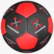 Soccer balls with logo printed over many panels.