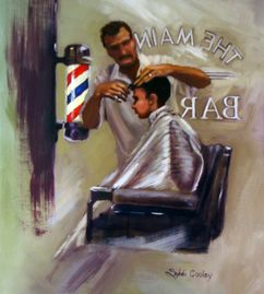 classic barber shop, traditional barber, Rockwell inspired, Mark Cooley, Sylvia Cooley, boy haircut