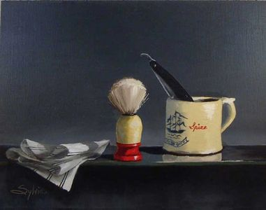 Barber art, barber life, classic cuts, mug and brush, SylviaCooley, themainstreetbarber.com