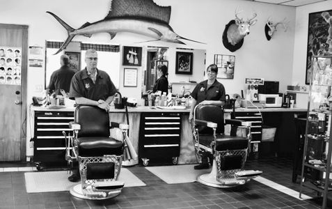 Barber/Owner Mark Cooley Barber Kim Rising
