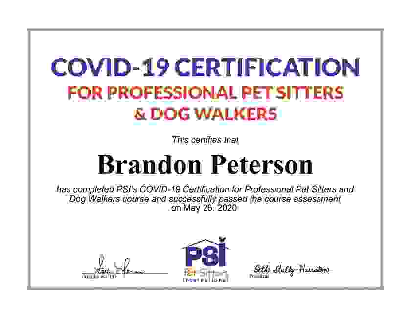 Boise Dog Walking and Boise Pet sitting service took a Covid-19 course to increase our knowledge.