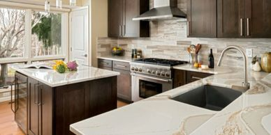 Modern gourmet Kitchen in Kenmure home Flat Rock NC. Cambria quarts counters, Kitchenaid cabinets