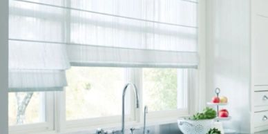 Designer Hunter Douglas soft window coverings and Roman shades in kitchen in Hendersonville NC