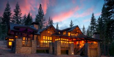 Newly constructed mountain home retreat in Lake Tahoe CA.  Interiors done by Dawn Driskill