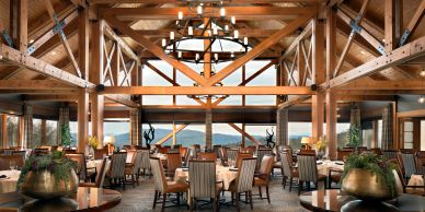 Mountain View dining room designed for Champion Hills Country Club by The Design Gallery