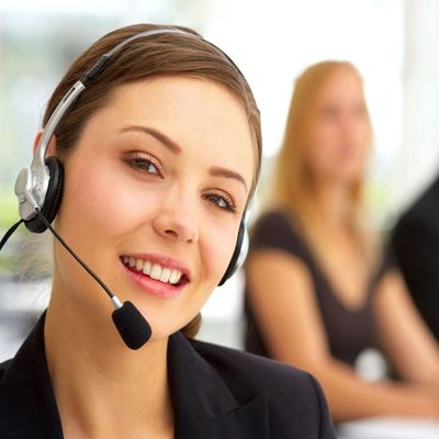 call center person with headphone and microphone