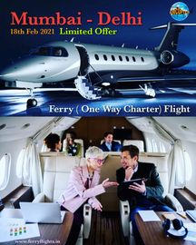 Best option for travelling from Mumbai to Delhi One way Air charter Ferry flights services in India