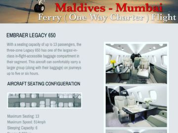 Maldives to Mumbai Private One way charter ferry flight services