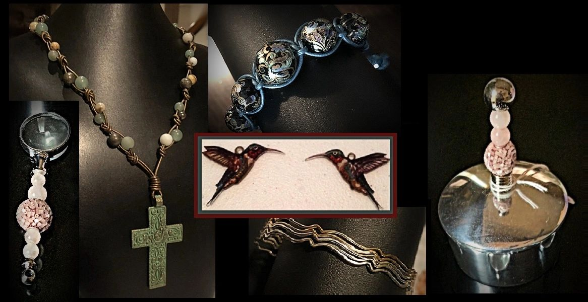 Collage with macramé necklace, bracelet, stack bracelets,  hummingbird components and beaded set.