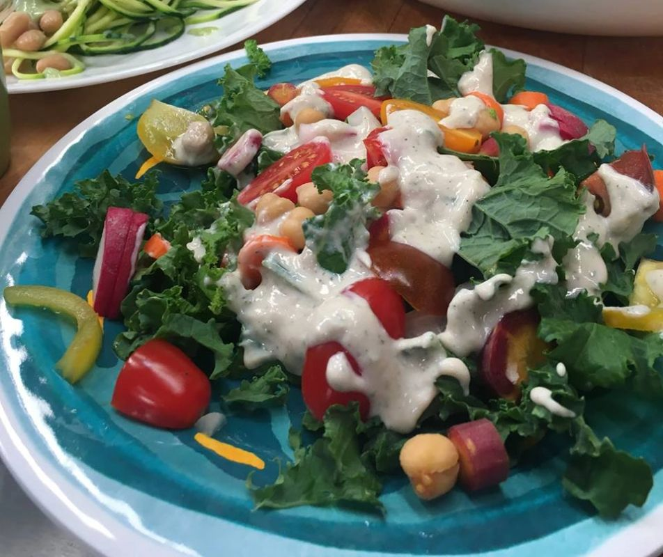 Kale garden salad dressed with Better Than Ranch Superdip