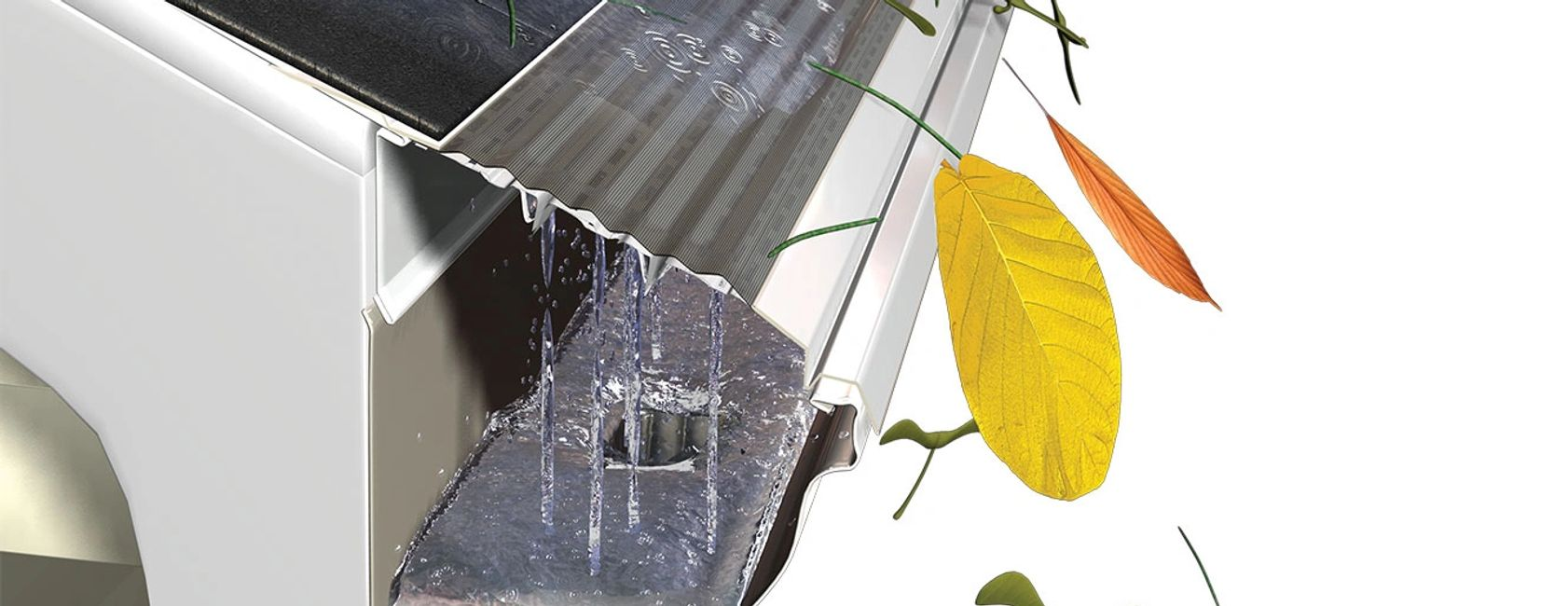 leaf-guards protecting eaves-trough gutters