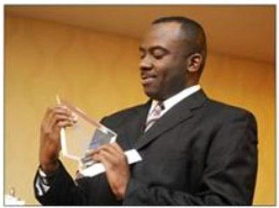 "Carlos Banks receiving his ""Entrepreneur of the Year Award!"""