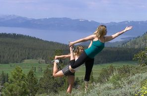 Samantha and a student practicing dancer pose on the side of a mountain on Mt. Rose trail, Mount Rose, Lake Tahoe, Nevada