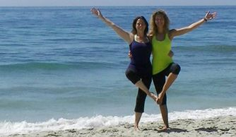 Samantha and a friend posing for a photo on the beach at Carlsbad, California