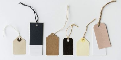 Hang tags, tags, signage, shelf tags design