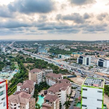 High view point cityscape of Accra, Ghana.