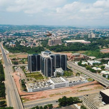 Aerial landscape view of Abuja City Business District