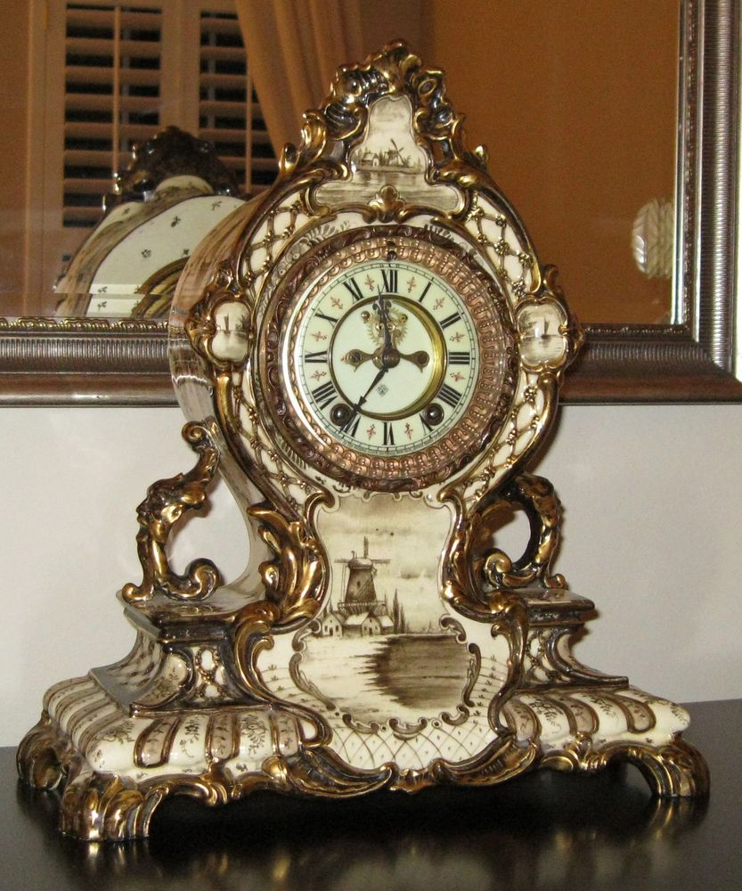 "Restored circa 1900 Ansonia Clock Company ""LaCerda"" Royal Bonn porcelain mantle clock ."