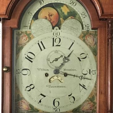 Circa 1830 signed tall case clock by William Breneisen of Lancaster County, PA.