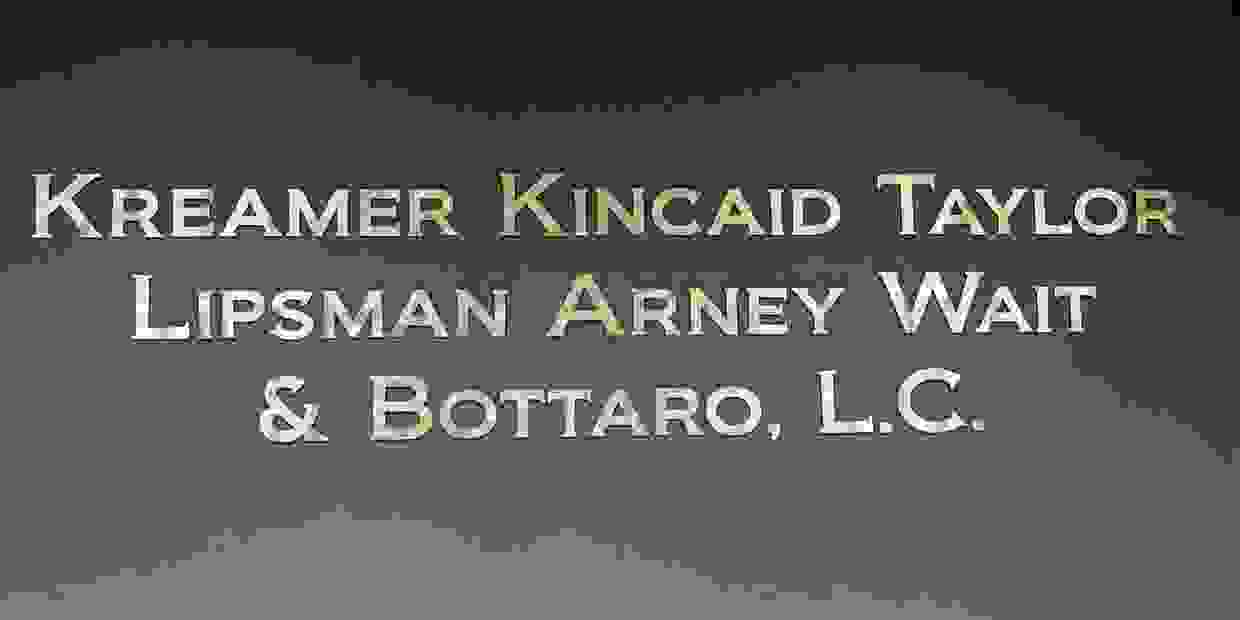 Kreamer, Kincaid, Taylor, Lipsma, Arney, Wait & Bottaro Law Firm sign in Kansas City.