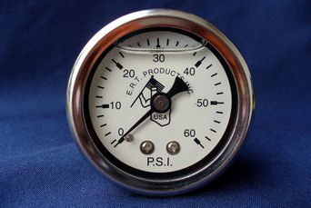 Harley oil pressure gauge. Twin Cam,Evo, Shovel, Pan, Knuckle engines. Liquid filled, O-60 P.S.I.