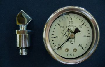 Harley oil pressure gauge kit w/tappet screen adap. Shovel & Evo engines. Liquid filled, O-60 P.S.I.