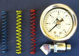 Harley oil pressure relief spring kit, with Harley oil pressure gauge. Shovel & Evo E.R.T. Products