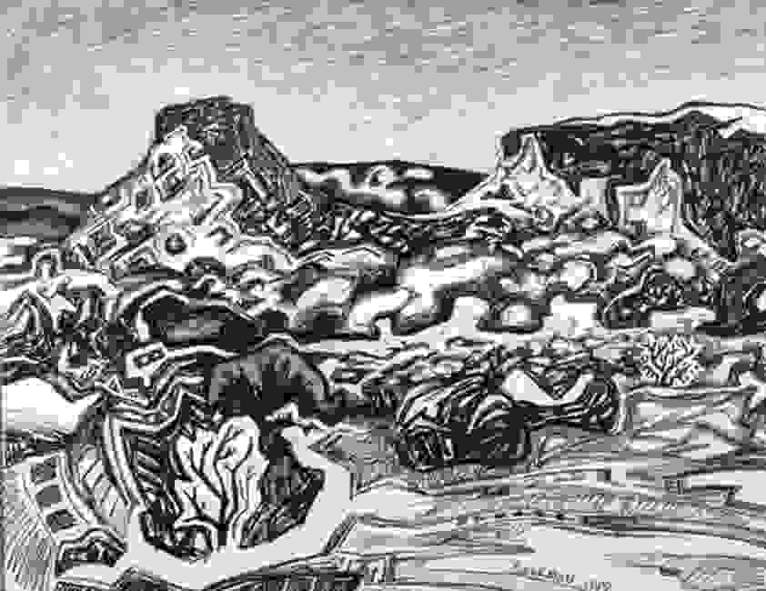 Charcoal drawing of a desert mesa and desert plants.  The location is just north of Ojo Caliente.