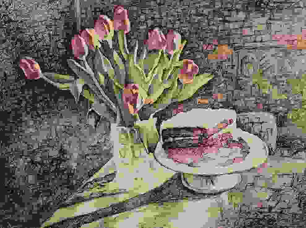 Pen and Ink with pastel on paper portraying flower arrangement with cake.