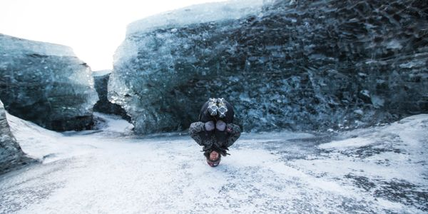 Doing a Head Stand In Iceland on a Glacier