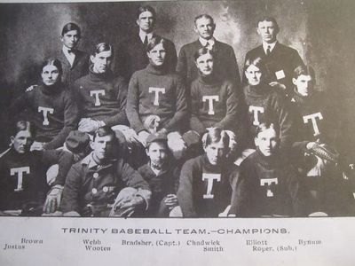 Arthur Bradsher went 13-1 during the 1904 season leading Trinity to  S.I.A.A. Championship. He pitch