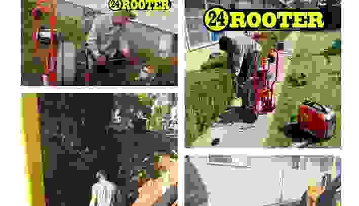 Drain cleaning photo collage of 24 rooter of yakima