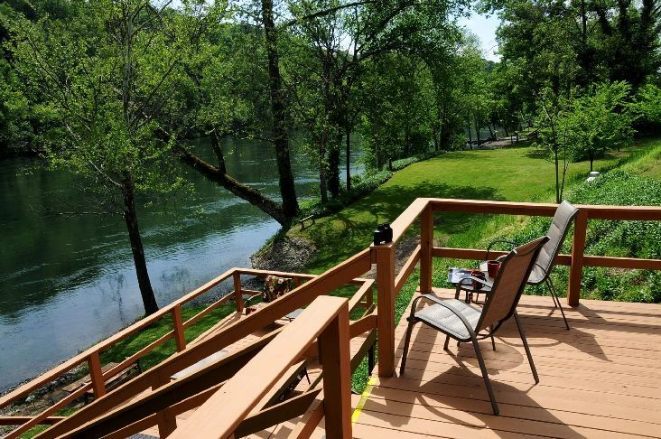 View from upper deck over White River - Eagle watching, drinking coffee, reading good book.