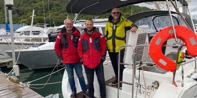 Yacht Delivery Solutions Gary and crew on Oceanis 34