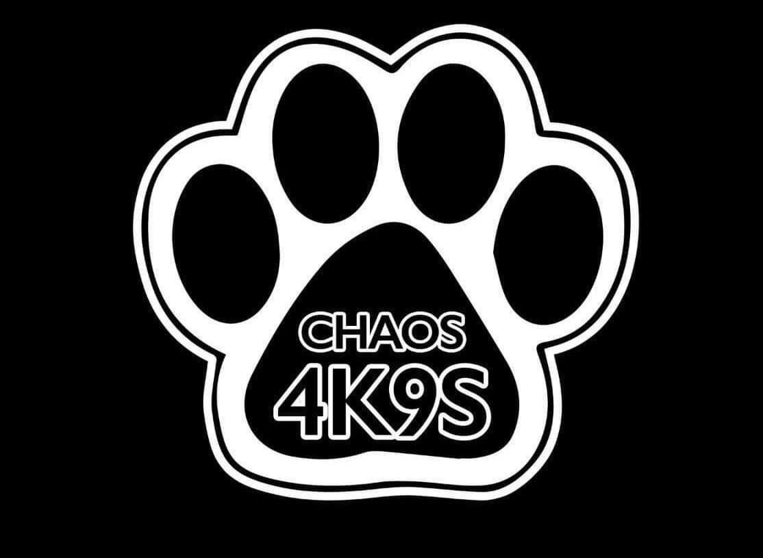 Black and White Dog Paw Logo that says CHAOS4K9S in the middle.