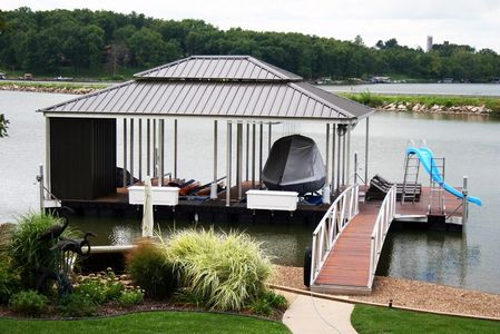 Double hip roof, aluminum boat dock, boat dock with slide