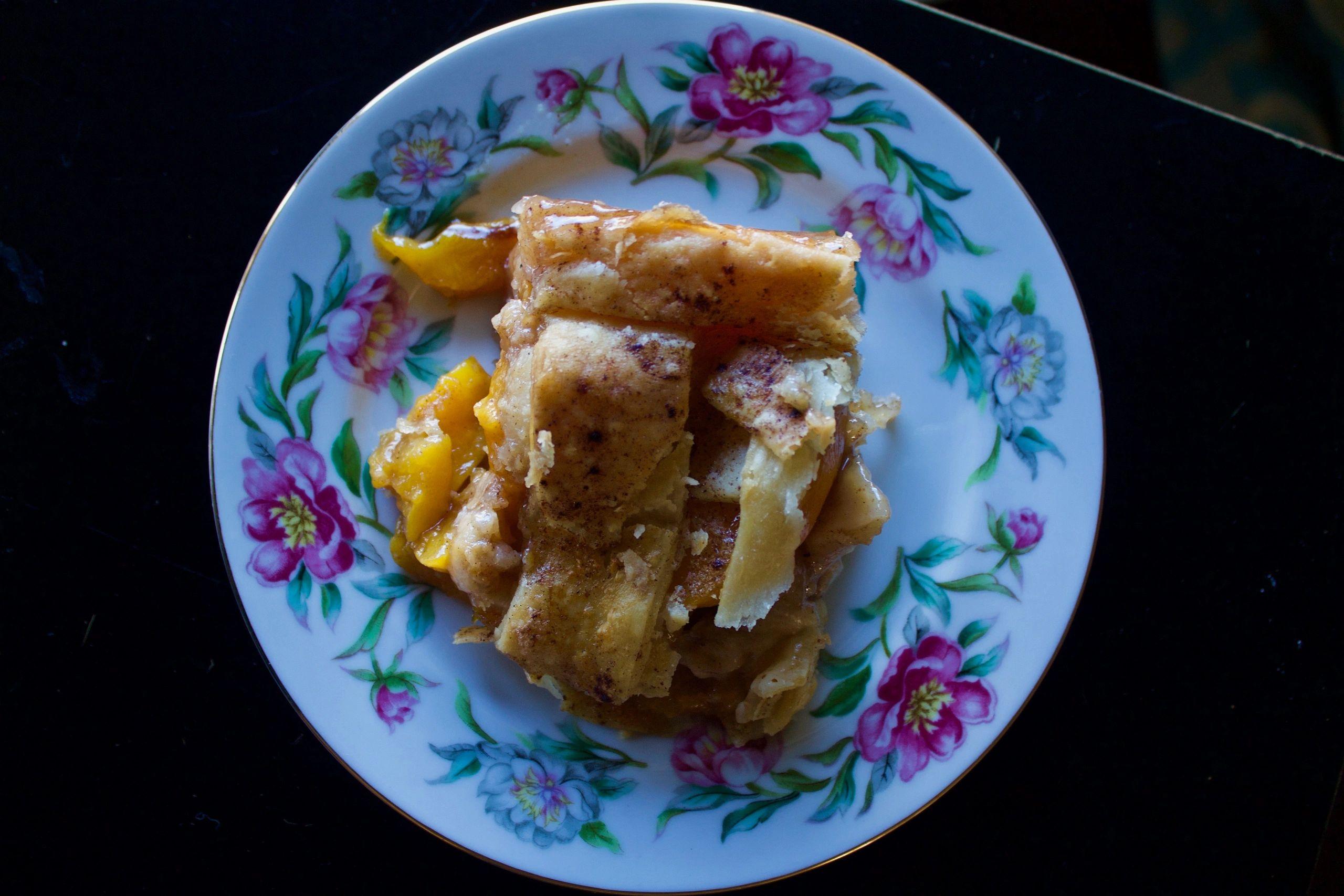 Peach Cobbler on a plate