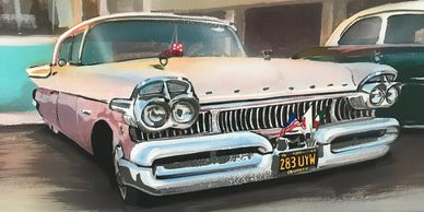 Airbrushed American car mural