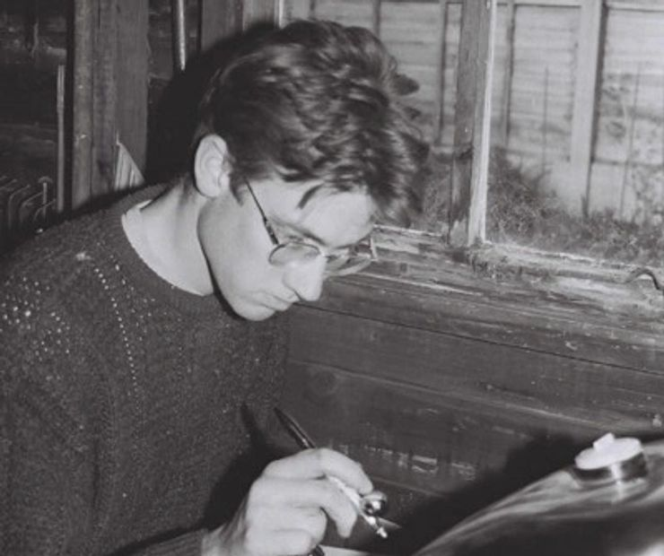 David airbrushing a bike tank in the early 1990s