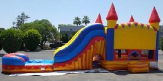 Inflatable bounce house with water slide / dry slide