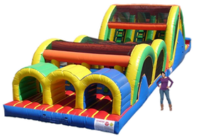62 foot long triple lane obstacle course rental - inflatable event rentals AZ