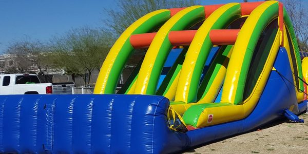 triple lane obstacle course with slide rentals - inflatable event rentals AZ