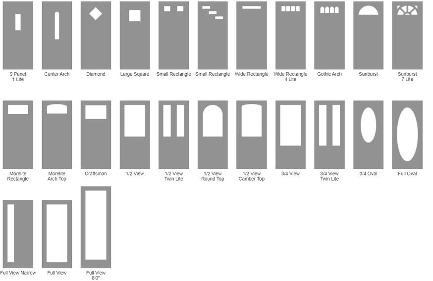 Shape and Size chart for door glass options.