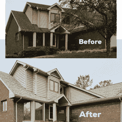 We enhanced the exterior of this house by installing a new roof and siding